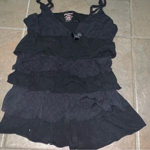 Juicy Couture black tank with ruffles